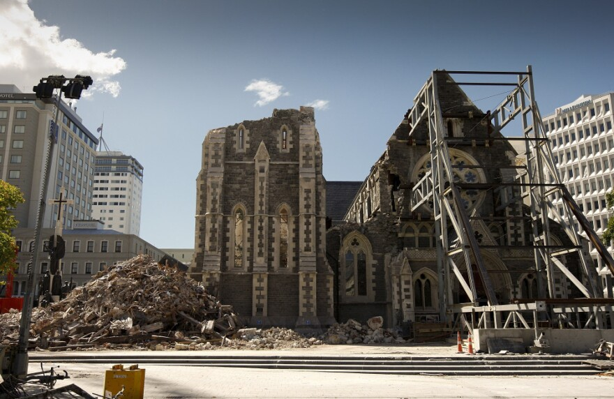 The Christchurch Cathedral is seen following Christchurch's earthquake, on March 5. The couple was headed to Christchurch when that earthquake happened.