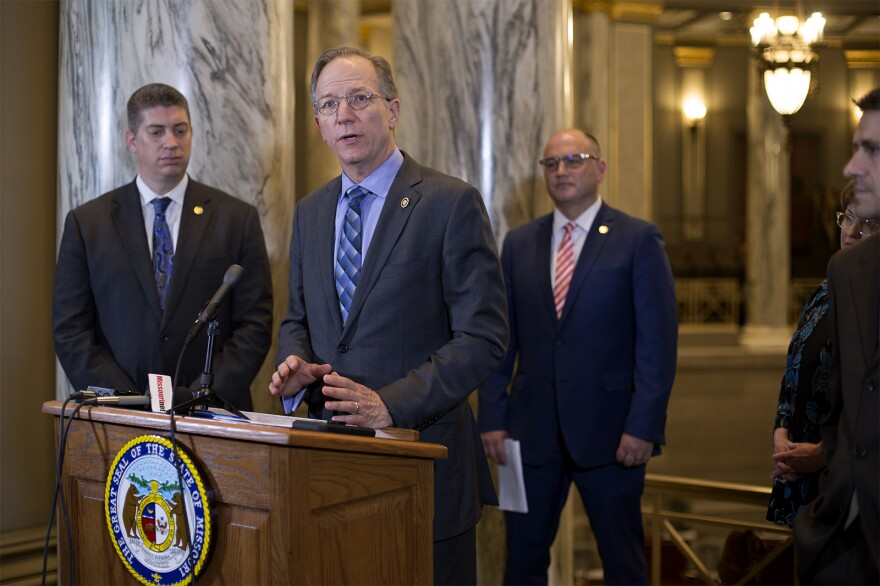 Sen. Bob Onder holds an end of session press conference with other members of the Senate Conservative Caucus on May 17, 2019.