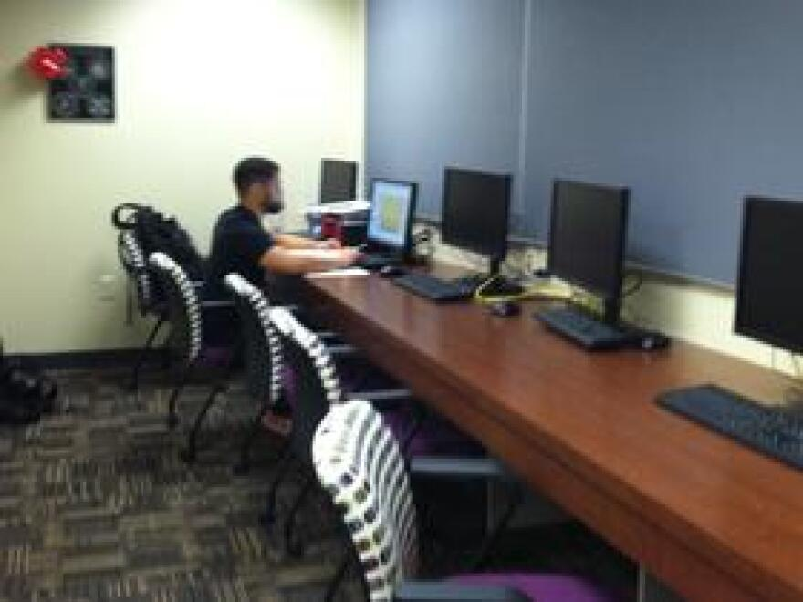 The V-CARE nursing students lounge has a bank of computers to help with their studies.