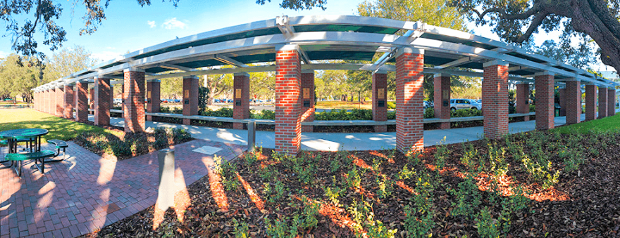 A walkway at the University of South Florida's Research Park which features the inductees of the Florida Inventors Hall of Fame.