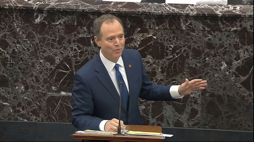 "In this image from video, House impeachment manager Rep. Adam Schiff, D-Calif., speaks during the impeachment trial in the Senate. Schiff's stance is that ""you can't have a fair trial without witnesses."""