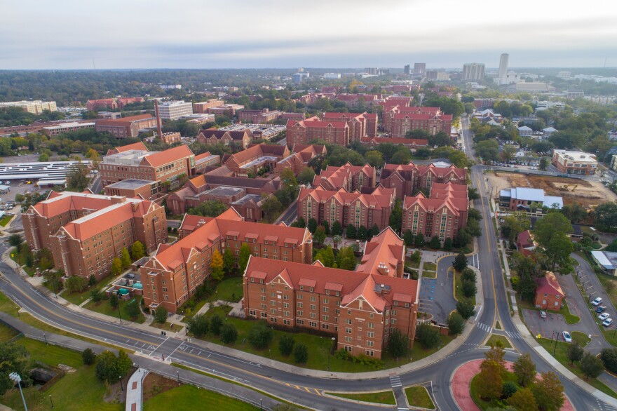 Aerial View of Several Red Brick Buildings