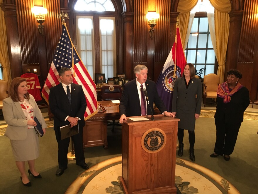 Missouri Gov. Mike Parson holds a press conference on Jan. 17, 2019, with members of his cabinet.