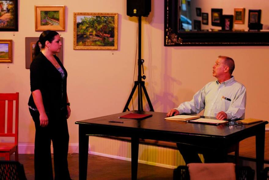 Anna Skidis Vargas and Robert Ayllón in a one-act called La Cita, which takes place in a therapist's office. There's an unexpected twist at the end.