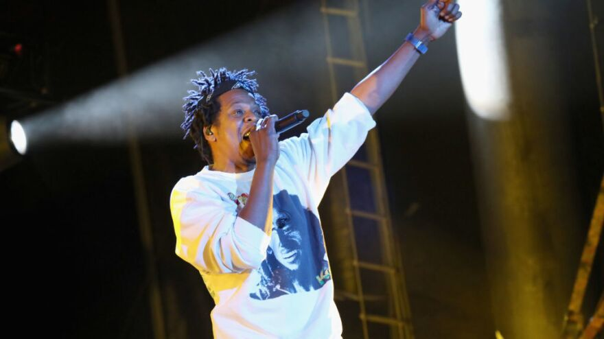 Jay-Z performs at the Something in the Water festival in Virginia Beach, Va., on Saturday. The rapper was one of the many artists who had been scheduled to perform at Woodstock 50.