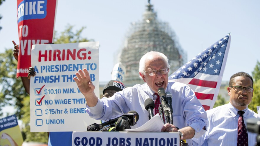 Democratic presidential candidate Sen. Bernie Sanders speaks during a 2015 rally to push for a raise to the minimum wage to $15 an hour.
