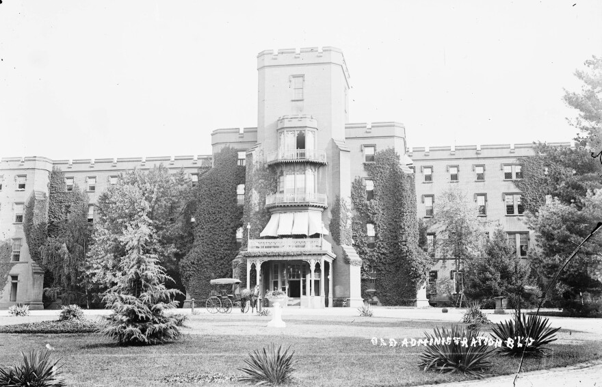 """The Center Building at St. Elizabeths, pictured circa 1900, housed administrative offices and patient wards. Established in 1855 as the Government Hospital for the Insane, the facility became widely known as """"St. Elizabeths"""" during the Civil War, and took that name officially in 1916."""