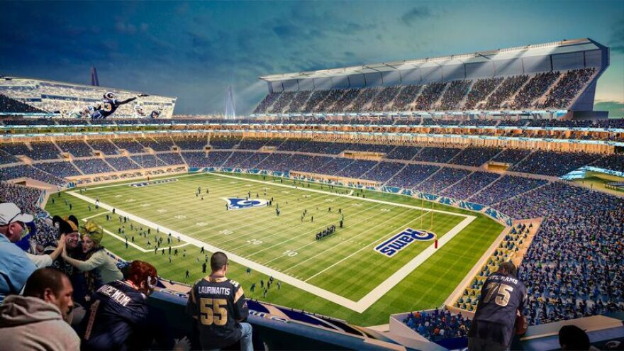A rendering of the proposed riverfront stadium