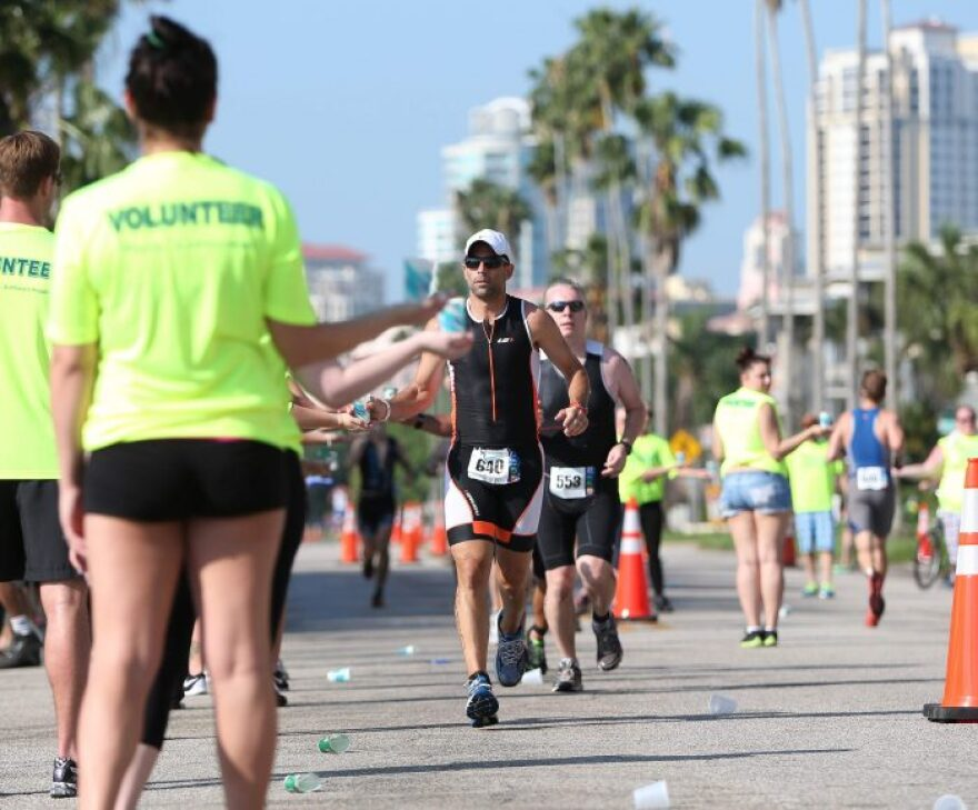 Athletes and volunteers with the St. Anthony's Triathlon