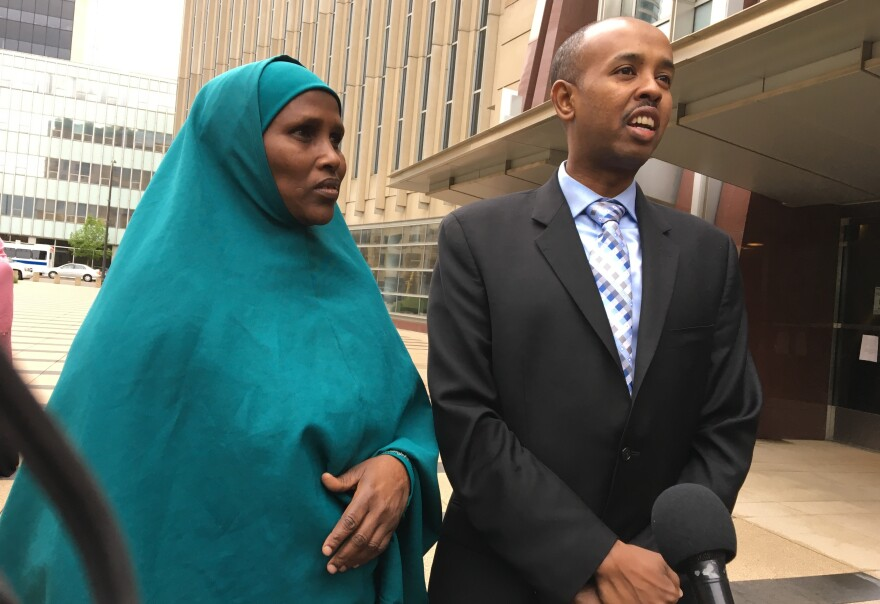 "Three Somali-American men accused of plotting to join the Islamic State are on trial in Minneapolis. Fadumo Hussein (left) is the stepsister who reared one of the defendants, Guled Omar. She calls him her son and says, ""we are not terrorists."" Sadik Warfa (right) is a community leader in Minneapolis."