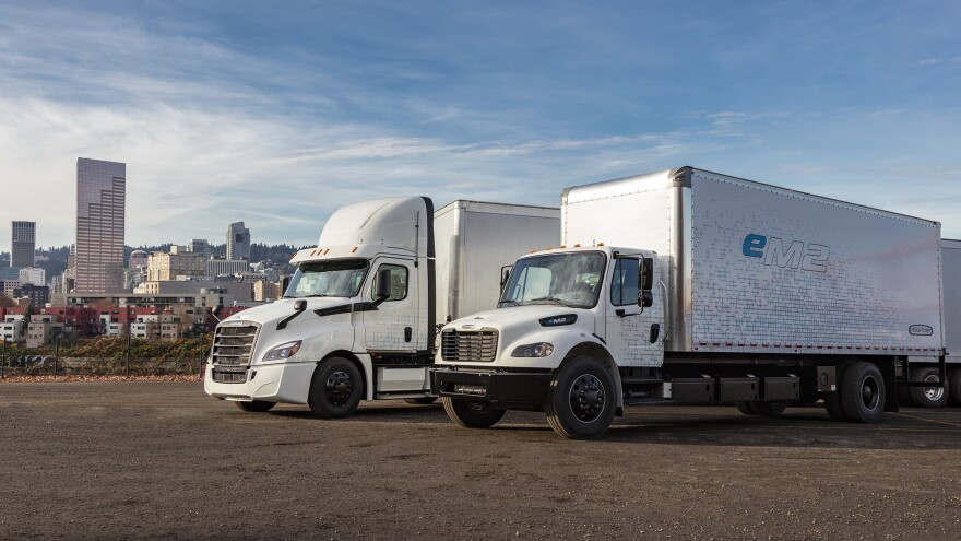 The Freightliner eCascadia and the eM2 are two of the first electric semitrucks to hit the highways for test-driving.