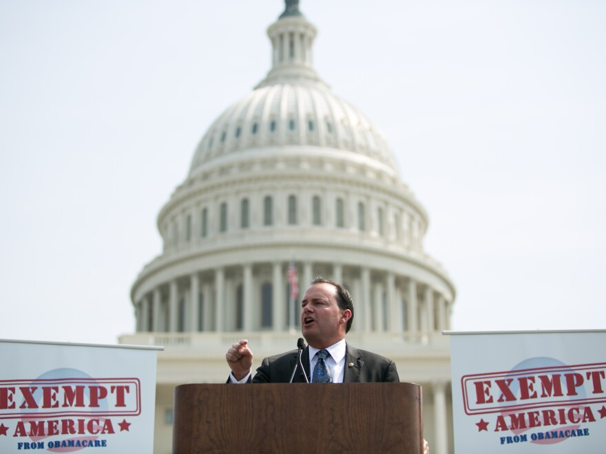 Sen. Mike Lee, R-Utah, speaks at a Sept. 10 Capitol Hill rally against Obamacare.