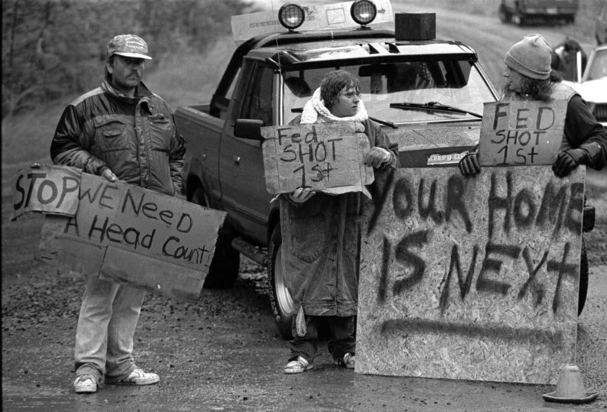 An August 23, 1992, photo of Randy Weaver supporters at Ruby Ridge in northern Idaho.