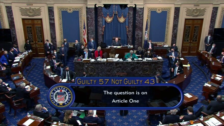 The Senate voted 57-43 Saturday to acquit former President Donald Trump during his second impeachment trial.