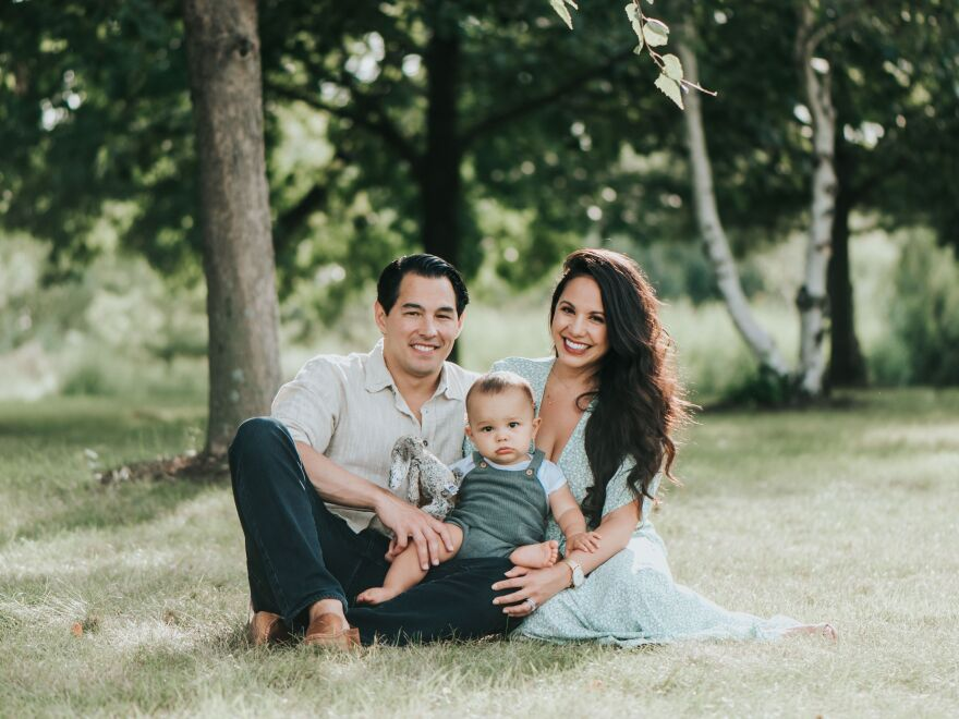 Joe Pinero, an emergency room worker, is on the front lines of treating the coronavirus pandemic and has been trying to reduce the risk to his pregnant wife and 19-month-old son.