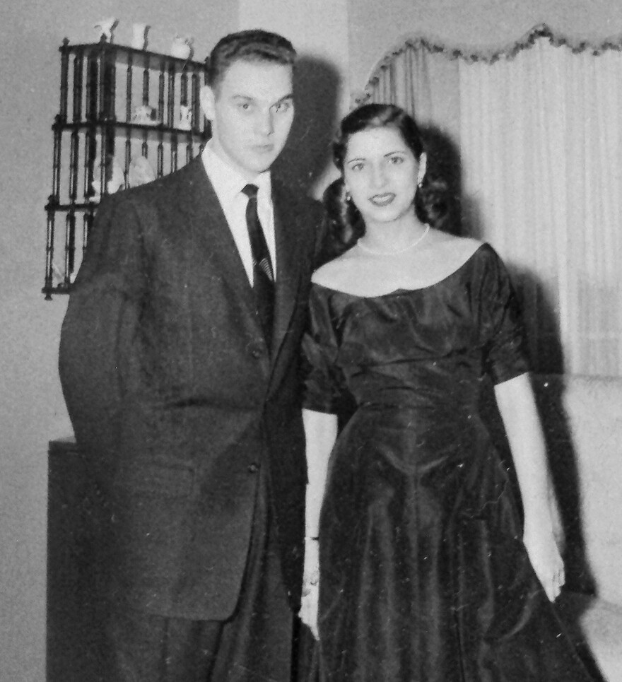 Justice Ginsburg and her husband, Marty, at Marty's home, following their engagement party, which was held at the Persian Room of the Plaza Hotel in New York City on Dec. 27, 1953.
