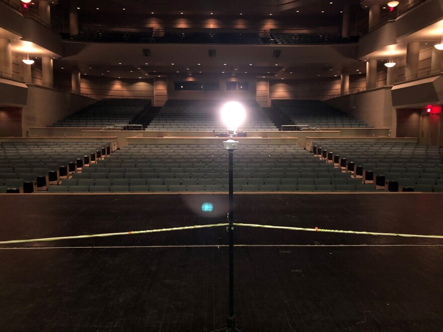 "A May 15, 2020 post on Clark State Performing Arts Center's FaceBook page shows the theatre's ""ghost light"" with the simple quote: ""We'll reach up and rise again."""