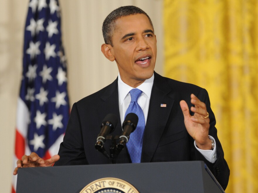 <p>President Obama speaks during a press conference in the East Room of the White House in Washington, D.C.</p>
