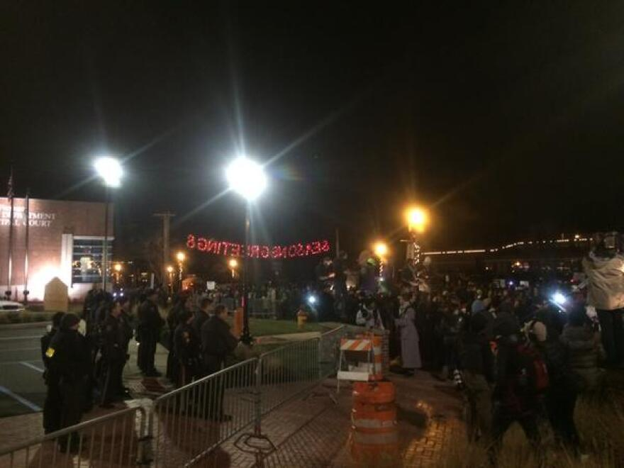 Ferguson protests started calmly but deteriorated after the grand jury decision was announced.