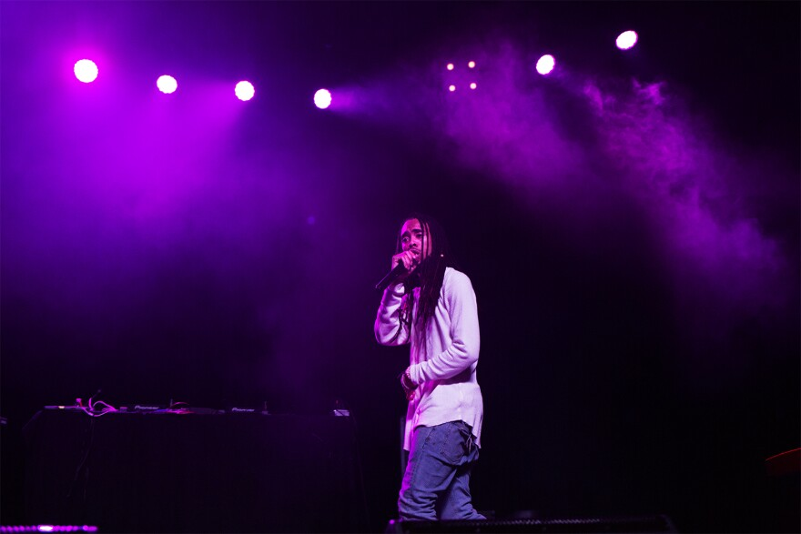 Mvstermind performs as one of Lupe Fiasco's opening acts at Delmar Hall in October 2018.