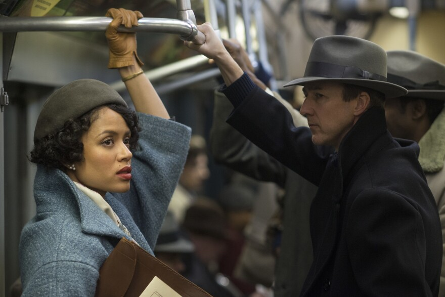 <em>Motherless Brooklyn</em>, starring Gugu Mbatha-Raw (left) and Edward Norton (right), follows a detective who get caught up investigating corruption in New York City.