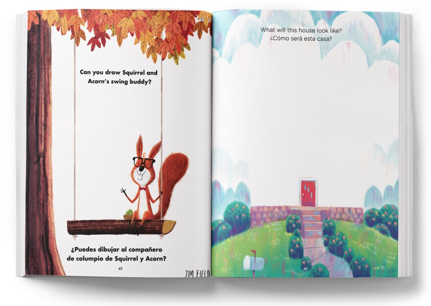 <em>Coloring Without Borders</em> — a book featuring contributions from more than 80 artists — invites kids to fill in the blanks. Young artists can draw a friend for Jim Field's Squirrel (left) or finish Max Ulichney's house (right).