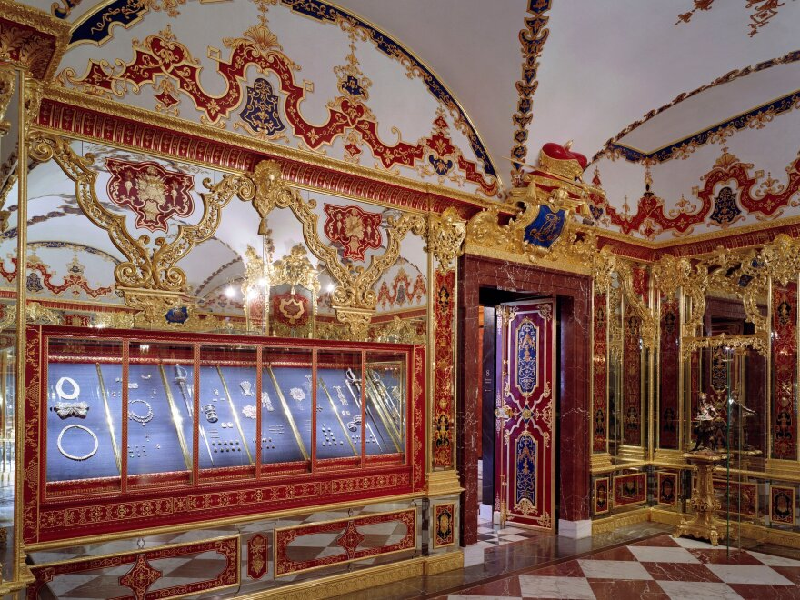 Thieves targeted three sets of items in the Jewel Room of the Green Vault museum in a heist carried out early Monday. The burgled room is seen here in a photo provided by the Dresden State Art Collections.