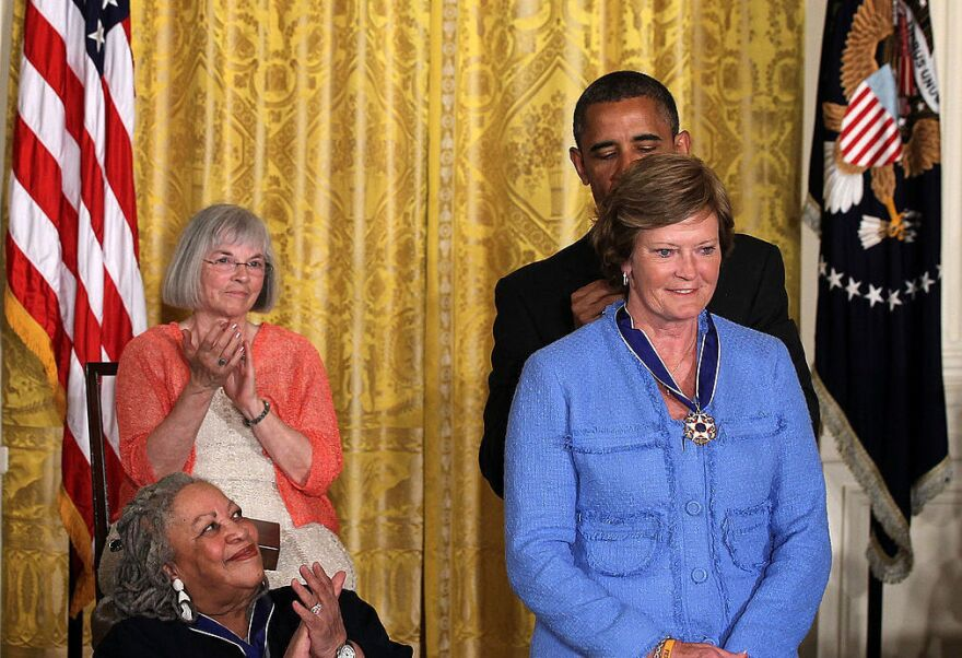 President Obama presents Pat Summitt with the Presidential Medal of Freedom in May 2012 during an event in the East Room of the White House in Washington, D.C.