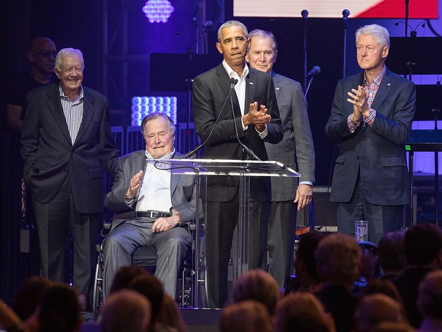 Former Presidents Jimmy Carter, George H.W. Bush, Barack Obama, George W. Bush and Bill Clinton came together last year in College Station, Texas.