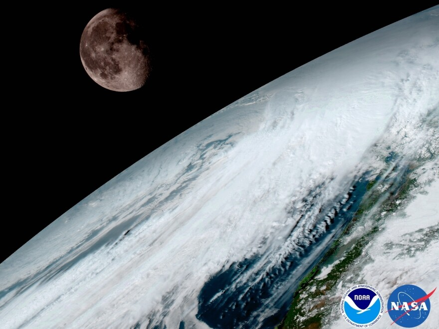 GOES-16 captured this view of the moon while looking across the surface of the Earth on Jan. 15. The satellite uses the moon to calibrate its imaging device in much the same way a photographer uses a light meter.