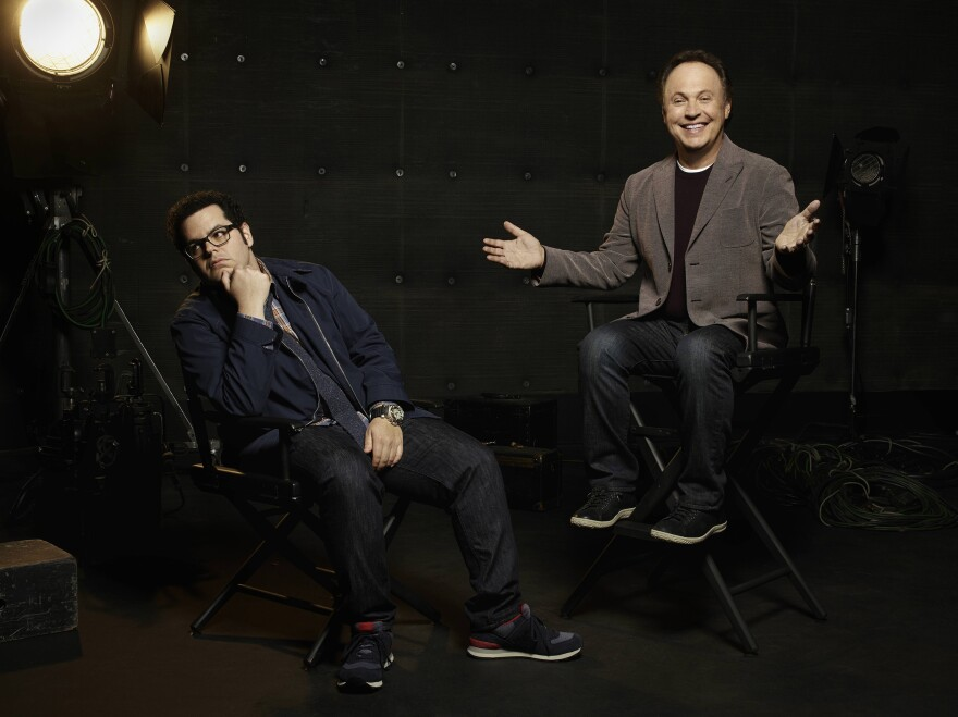"Josh Gad (left) and Billy Crystal co-star in <em>The Comedians</em> on FX. While on the show they pretend there's a big generational gap, Gad says, ""I happen to have a lot more in common with Billy than not — so it was almost more difficult to create this sort of gap."""