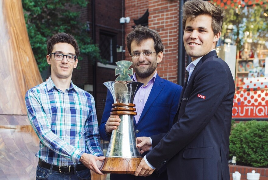 Fabiano Caruana, world champion Magnus Carlsen and Levon Aronian share the crown as winners of the Sinquefield Cup in August 2018.