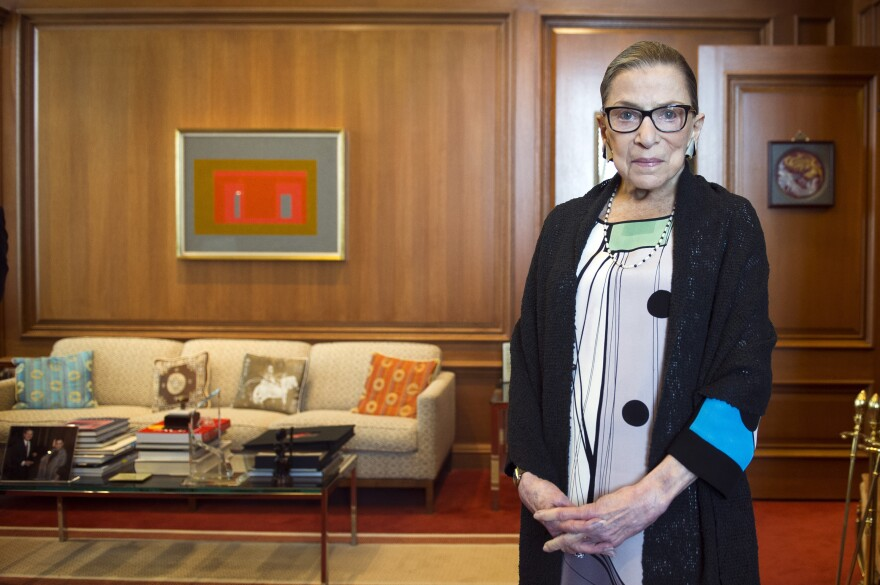 Supreme Court Justice Ruth Bader Ginsburg in her court chamber, in July.