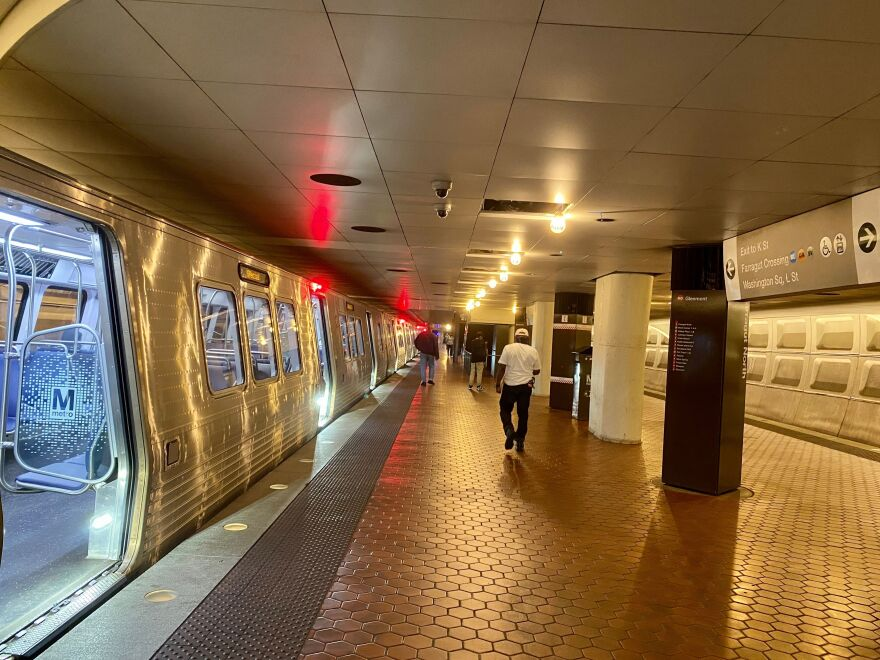 An almost empty Metro station is seen in Washington, D.C., on July 21. The region's employers worry about the safety of workers using the transit system during the pandemic.