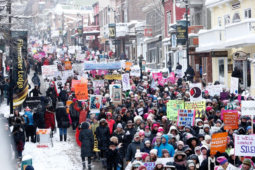 Crowds gather for the women's march on Main Street during the Sundance Film Festival in Park City, Utah.