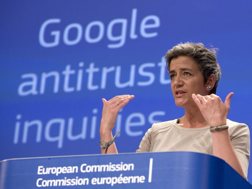 European Union competition chief Margrethe Vestager speaks during a news conference on Google last week.
