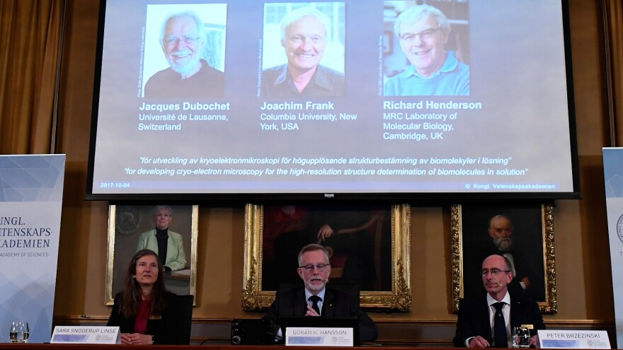 The 2017 Nobel Prize in chemistry goes to Jacques Dubochet from Switzerland, Joachim Frank from the U.S. and Richard Henderson from Britain, during an announcement at the Royal Swedish Academy of Sciences in Stockholm on Wednesday.