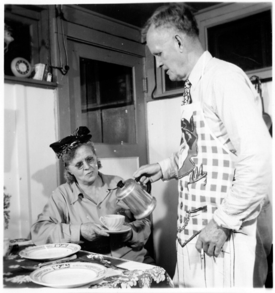 Hans Hornbostel visits his wife, Gertrude, a patient with leprosy, in her cottage on the grounds of the national leprosarium in 1948. The Japanese imprisoned both of them in the Philippines during World War II. They spoke out to get the right to vote reinstated for those at Carville, who lost their voting privileges when they became patients.