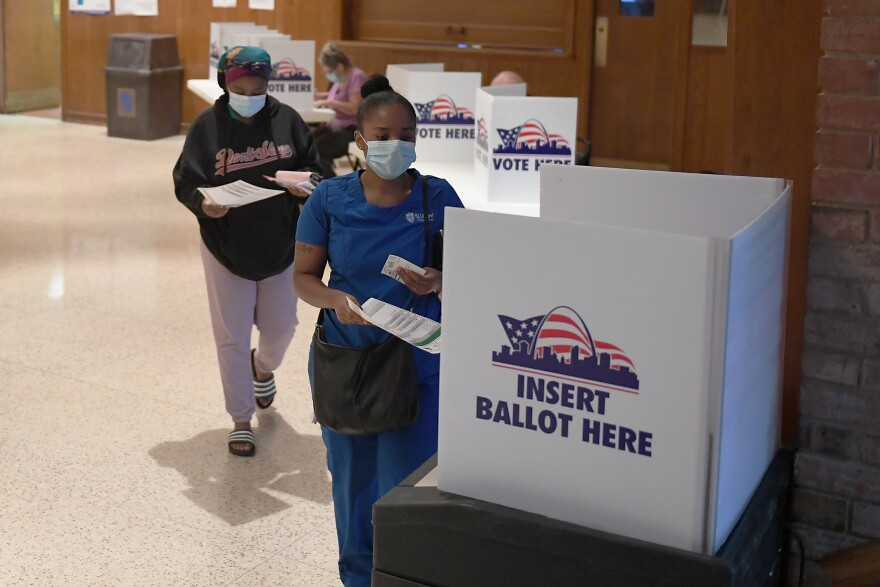 Voters cast their ballots in Missouri's primary election on August 4, 2020 at Gambrinus Hall in St Louis, Missouri. In November, voters will decide on Amendment 3 which would change the state's approach to redistricting.
