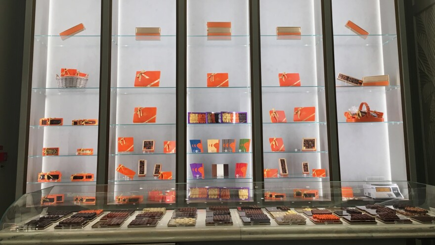 Inside Ghraoui chocolate in Budapest there are glass cases, as if you're in a gallery or a jewelry store. But the jewels inside the glass cases are handmade, hand-painted chocolates.