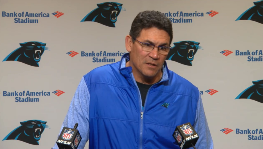 Panthers coach Ron Rivera speaks at a press conference after the team's Nov. 17th loss against the Falcons