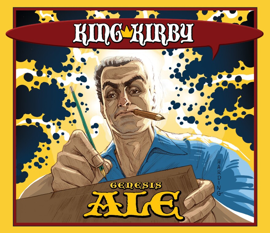 """Artist Paul Harding's take on Jack """"The King"""" Kirby, which is featured on the special-edition beer brewed for a Kirby Day celebration at Schmaltz Brewery in Clifton Park, N.Y."""