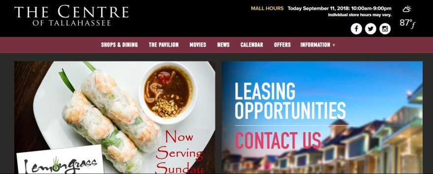 The Center of Tallahassee is advertising leasing space on its website.