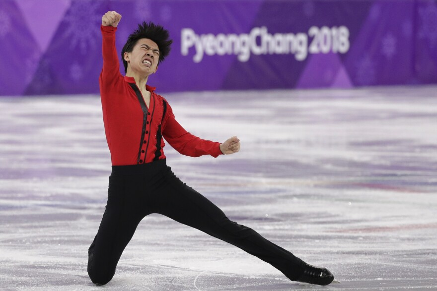 Vincent Zhou of Team USA reacts following his performance in the men's free figure skating final. Zhou is one of many teenagers who made it to the Winter Games.