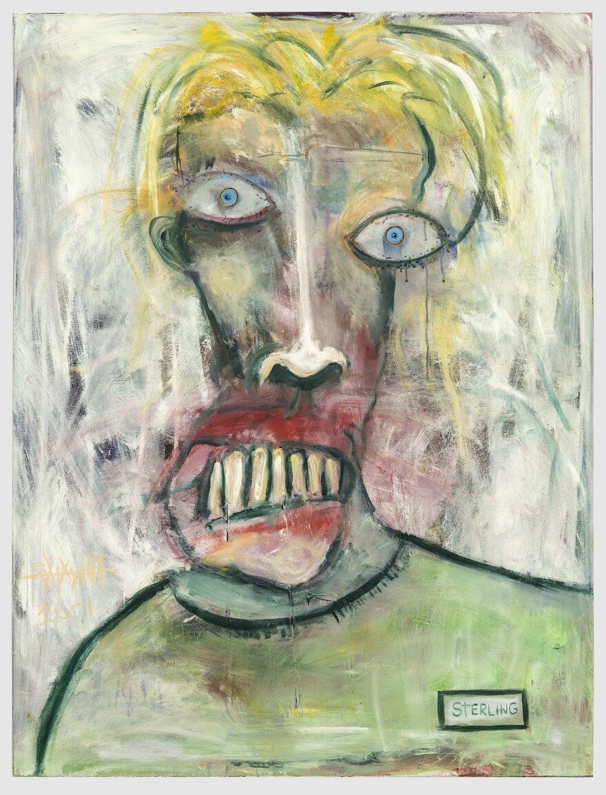"<em>Self Portrait, Green Shirt</em> by Sterling Witt. This is one of a series of ""disturbing self portraits"" Witt created in his early 20s, when he was in a lot of pain."