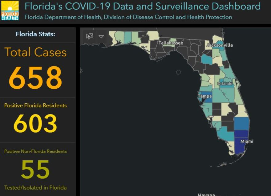 Coronavirus map and dashboard from state of florida