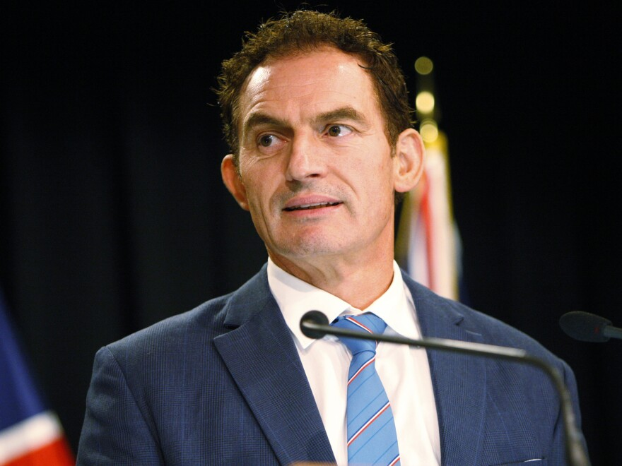 New Zealand Police Minister Stuart Nash talks to reporters on Monday. The government has introduced a broad bill that would ban the types of weapons used in attacks at two mosques in March.