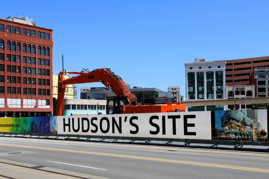 Construction at Hudson's Site, one of Dan Gilbert's projects in downtown in Detroit. Gilbert has invested or allocated an estimated $5.6 billion in about 100 Detroit properties through his Bedrock real estate firm.