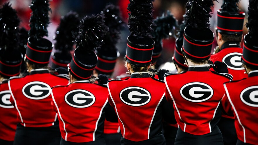"""The University of Georgia's marching band, seen during a football game last November in Athens. The band's acting director, Brett Bawcum, announced that it would no longer play <em></em>""""Tara's Theme"""" from <em>Gone with the Wind.</em> The film has attracted criticism for its depiction of race."""