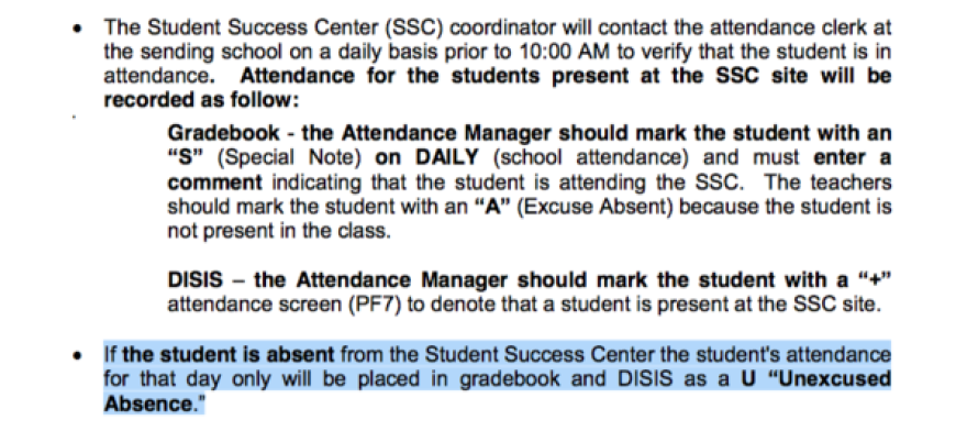 Miami-Dade's Student Attendance Reporting Procedures Manual outlines procedures for documenting student attendance or absences at success centers.